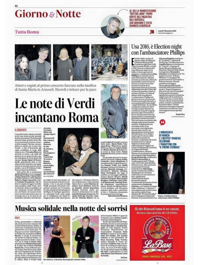 Il Maestro Sipari sul Messaggero per il bellissimo evento del 5 Novembre alla Basilica dell'AraCoeli - Requiem di G. Verdi